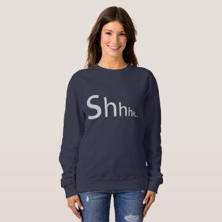 Shhhhのタイポグラフィのグラフィック・デザインを用いる海軍セーター スウェットシャツ