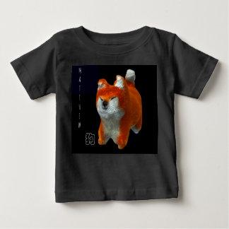 Shibaの子犬3Dの芸術犬年の名前の黒のベビーのティー ベビーTシャツ