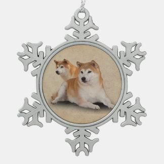 SHIBA犬 スノーフレークピューターオーナメント