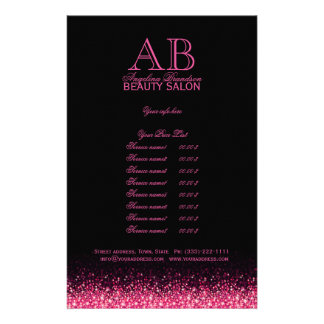 Shimmering Pink Star Design Black Price List チラシ