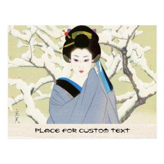 Shimura Tatsumi 2の主題の日本のな女性の雪 ポストカード