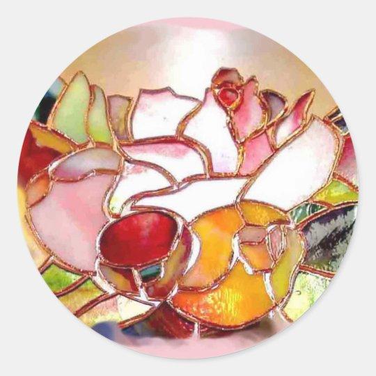 Shinning Flowers Glass Art Stickers ラウンドシール