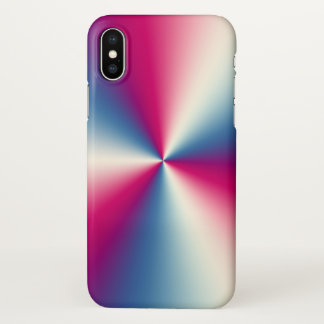 Shiny Stainless Steel  Look Silver blue & Red iPhone X ケース