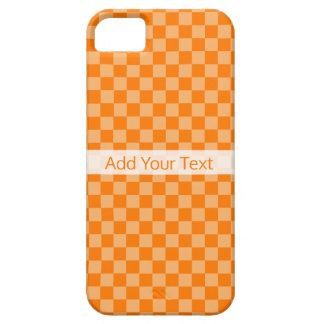 Shirleyテイラー著オレンジ組合せのチェッカーボード iPhone SE/5/5s ケース