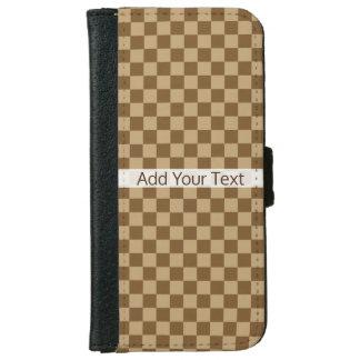 Shirleyテイラー著ブラウンのクラシックなチェッカーボード iPhone 6/6s ウォレットケース