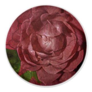 Shirleyテイラー著割れた赤いバラ セラミックノブ