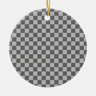 Shirleyテイラー著灰色の組合せのチェッカーボード セラミックオーナメント