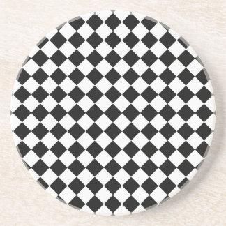 Shirleyテイラー著白黒ダイヤモンドパターン コースター