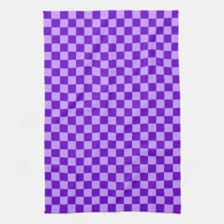 Shirleyテイラー著紫色の組合せのチェッカーボード キッチンタオル