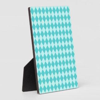 Shirleyテイラー著青い組合せのダイヤモンドパターン フォトプラーク