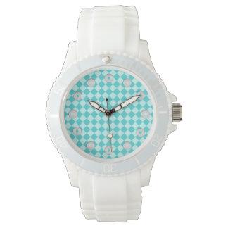 Shirleyテイラー著青い組合せのダイヤモンドパターン 腕時計