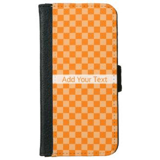 ShirleyTaylor著オレンジ組合せのチェッカーボード iPhone 6/6s ウォレットケース