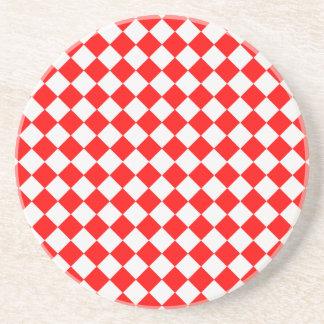 ShirleyTaylor著赤と白のダイヤモンドパターン コースター