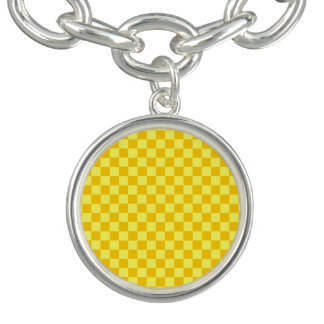 ShirleyTaylor著黄色い組合せのチェッカーボード チャームブレスレット