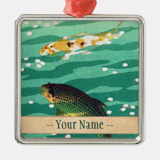 Shiro笠松町Karpのコイの魚のいる池の日本人の芸術 メタルオーナメント