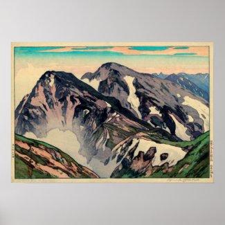 Shiroumadakeの白馬山頂のピーク、吉田の木版画 プリント