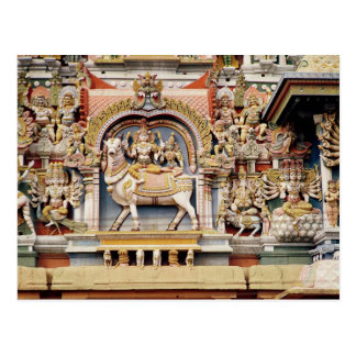 ShivaおよびParvatiの乗馬を描写するレリーフ、浮き彫り ポストカード