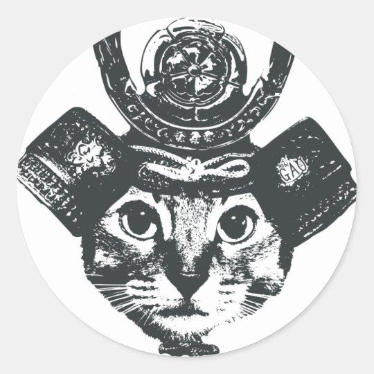 Shogun Cat 丸形シールステッカー