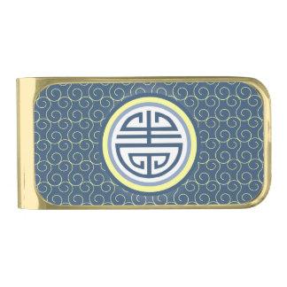 Shouの中国のな長寿の記号 • 青および黄色 ゴールド マネークリップ