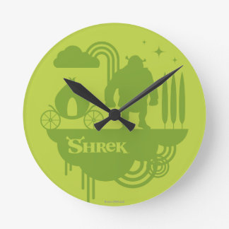 Shrekのおとぎ話のシルエット ラウンド壁時計