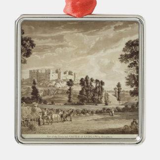 ShropshirのLudlowの町そして城の部分 メタルオーナメント