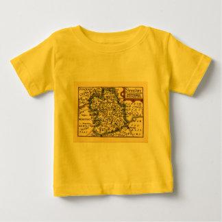 Shropshire郡地図、イギリス ベビーTシャツ