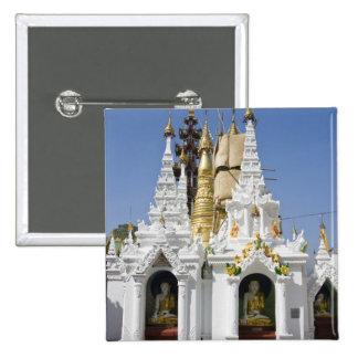Shwedagonの塔(Paya)、大きい寺院の場所2 5.1cm 正方形バッジ