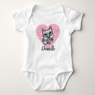 Siamese Cat Baby Girl Custom Heart Bodysuit ベビーボディスーツ