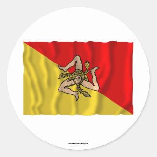 Siciliaの振る旗 ラウンドシール
