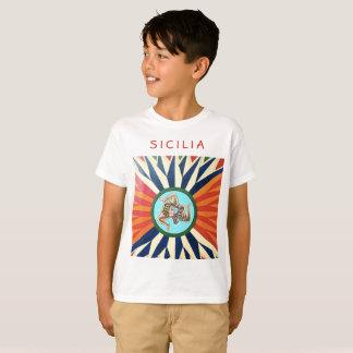Siciliaの~ Trinacriaのシシリーの記号 Tシャツ