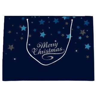 Silver Blue Stars Merry Christmas Holiday Gift Bag ラージペーパーバッグ