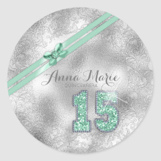 Silver Brocade Fifteenth Birthday Mint Green ID382 ラウンドシール