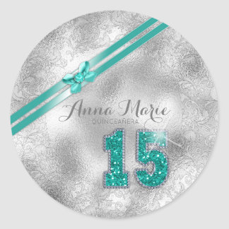Silver Brocade Fifteenth Birthday Teal ID382 ラウンドシール