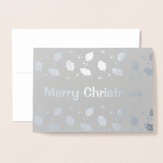 Silver Foil Holly Leaves Snowy Christmas Greetings 箔カード