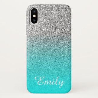 Silver Glitter Aqua Ombre Personalized iPhone X ケース