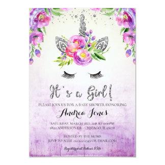 Silver Glitter Floral Unicorn Baby Shower Invite カード