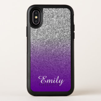 Silver Glitter Violet Purple Ombre Personalized オッターボックスシンメトリー iPhone X ケース