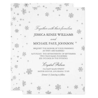 Silver Glitter Winter Wonderland Wedding カード