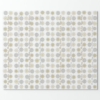 Silver/Gold Snowflakes - Christmas Wrapping Paper ラッピングペーパー