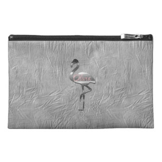 Silver Grey Flamingo  Silk Textured Bag トラベルアクセサリーバッグ