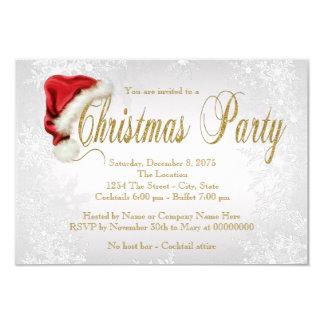 Silver Snowflake Santa Hat  Christmas Party カード