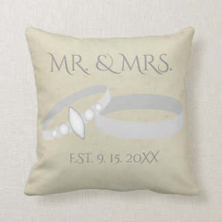 Silver Wedding Rings | Mr. & Mrs. | Save the Date クッション