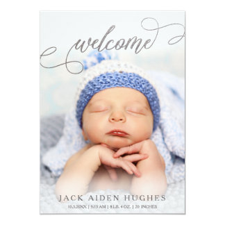 Silver Welcome Baby Birth Announcement Photo Cards 12.7 X 17.8 インビテーションカード