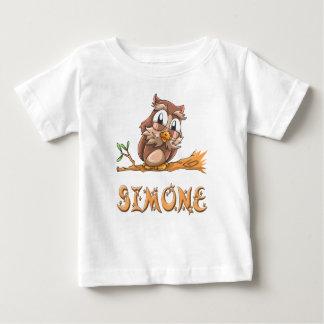 SimoneのフクロウのベビーのTシャツ ベビーTシャツ