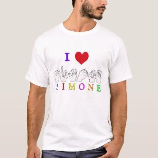 SIMONE ASL FINGERSPELLEDの一流の印 Tシャツ