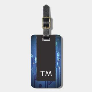 Simple Black Blue Circuit Board Monogram ラゲッジタグ