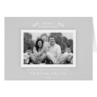 Simple Classic Pale Gray Christmas Photo Card カード