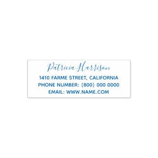 simple & clean address information blue (optional) セルフインキングスタンプ