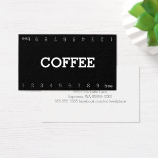 Simple Double Number Loyalty Coffee Punch-Card 名刺