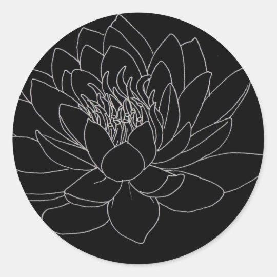 Simple Floral - Beutiful Lotus ラウンドシール